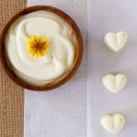 Homemade vegan butter bowl and heart shaped pats