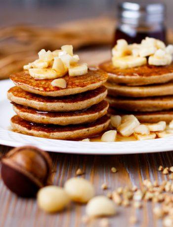 banana nut buckwheat pancakes