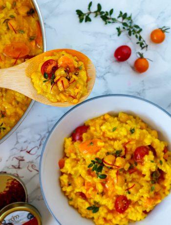 easy vegan saffron risotto
