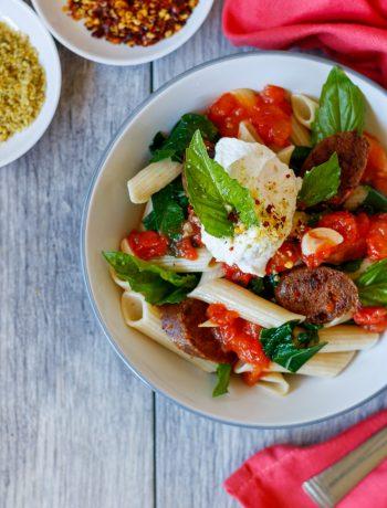sausage kale & ricotta penne pasta pasta