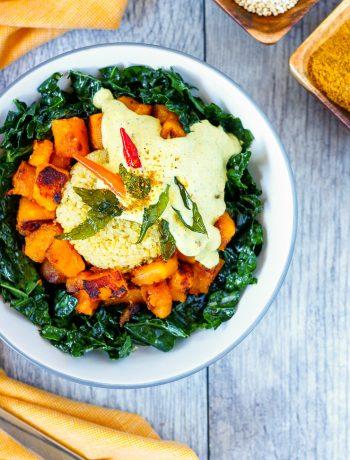curry cream kale quinoa bowl