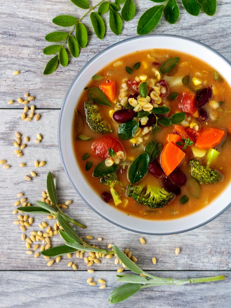 Moringa & barley minestrone soup.