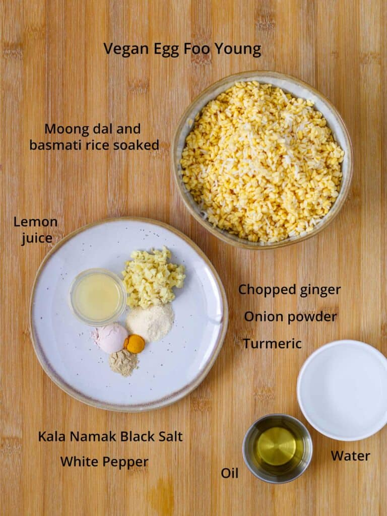 Vegan egg foo young ingredients.