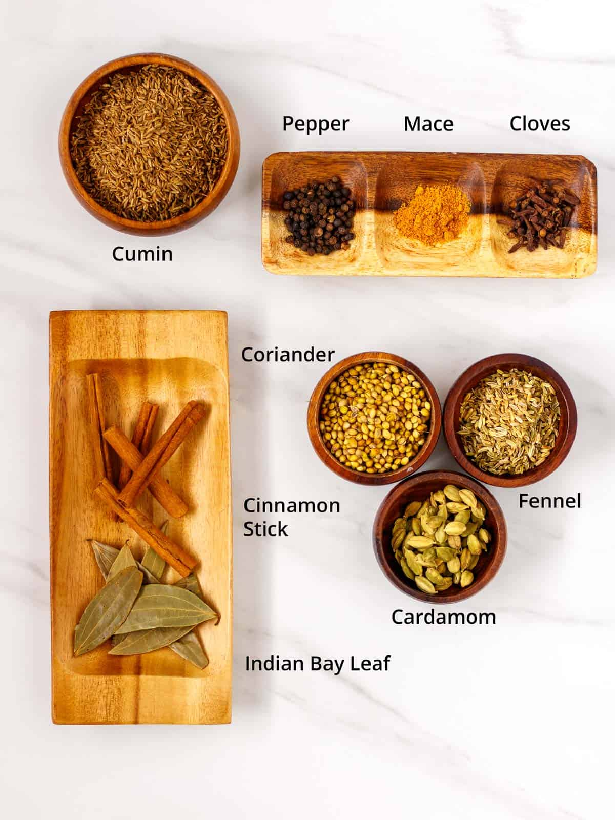 Dry spices for making homemade dry masala.
